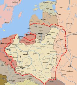 tzw. linia Dmowskiego, granice Rzeczypospolitej postulowane przez Romana Dmowskiego na konferencji pokojowej w Paryżu (1919)