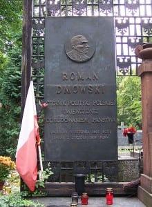 Płyta przy grobie Romana Dmowskiego