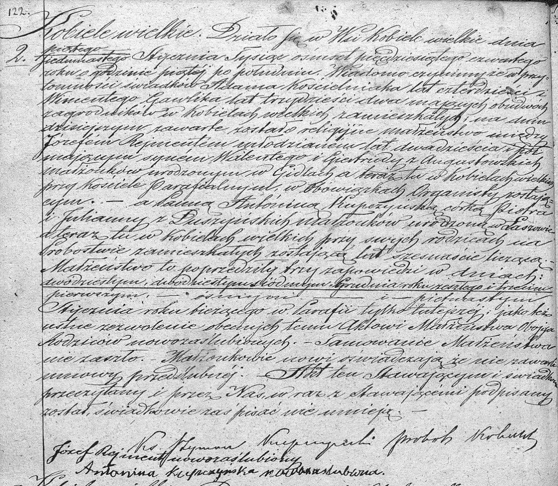 Akt ślubu Józef Rejment + Antonina Kupczyńska