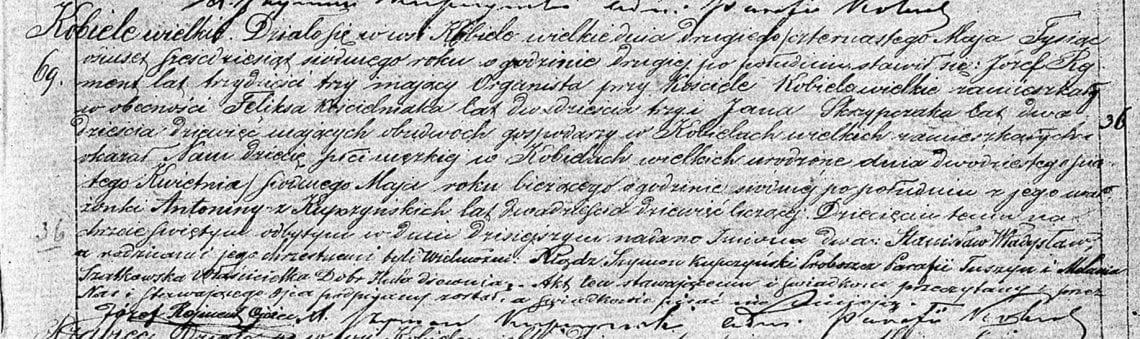 Akt chrztu Stanisław Władysław Rejmont