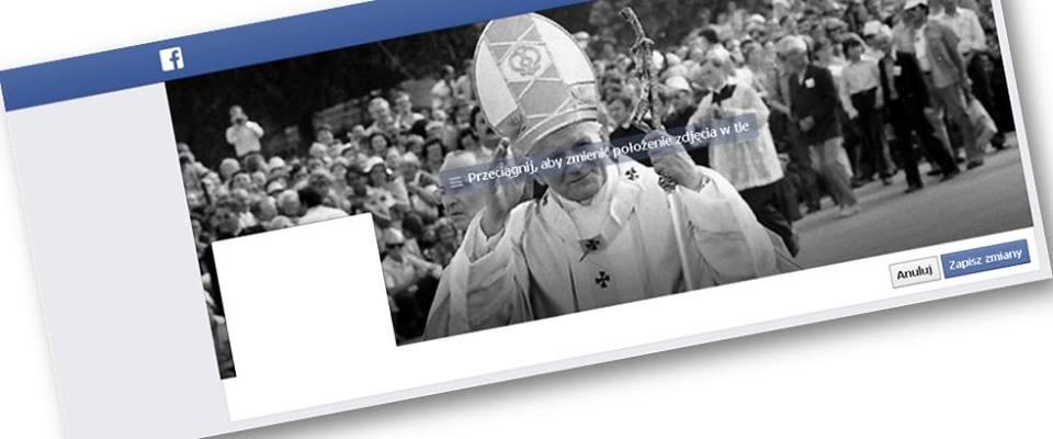 Tło z Janem Pawłem II na Facebooku - akcja wMeritum.pl