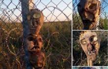 Głowy potworów na węgierskiej granicy. Mają odstraszać imigrantów? [FOTO]