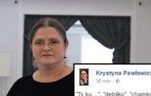 Krystyna Pawłowicz publikuje obelgi i pogróżki, które otrzymała po krytyce Czarnego Protestu
