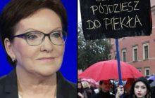 Ewa Kopacz wzięła w obronę uczestniczki Strajku Kobiet.
