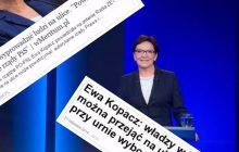 Hipokryzja Ewy Kopacz na jednej grafice. Zestawienie dwóch wypowiedzi byłej premier