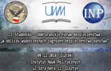 Współczesne wyzwania i zagrożenia bezpieczeństwa narodowego – forum na Uniwersytecie Warmińsko – Mazurskim w Olsztynie