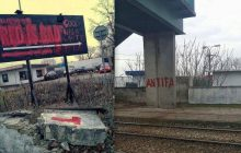 Zdewastowano billboard reklamowy firmy Red is Bad. Sprawcą Antifa? [FOTO]