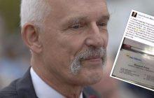 Janusz Korwin-Mikke prezentuje plakaty posłanek Nowoczesnej i wizytówkę Petru z... Unii Wolności! [FOTO]