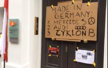 Londyn: Protest pod siedzibą niemieckiej telewizji ZDF przeciwko użyciu zwrotu