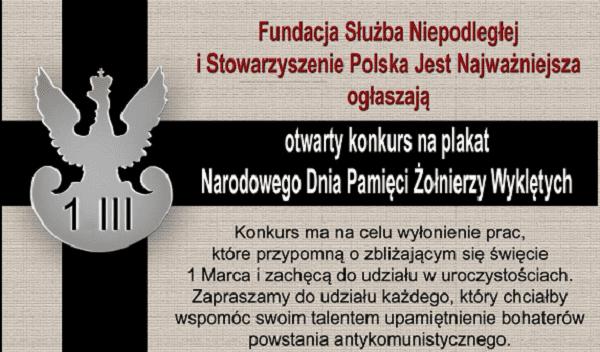 Konkurs na plakat Narodowego Dnia Pamięci Żołnierzy Wyklętych