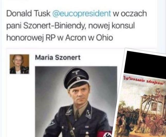 Honorowa konsul w Ohio poszła po bandzie. Opublikowała zdjęcie Tuska w mundurze SS!