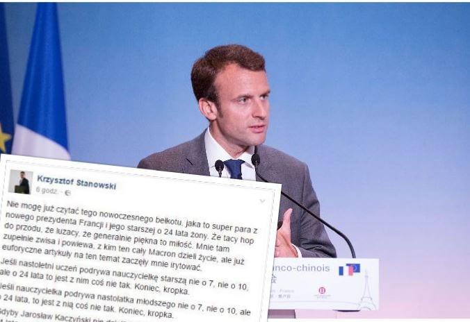 Krzysztof Stanowski wywołał burzę na Facebooku. Zamieścił wpis o Macronie i jego małżonce.