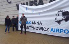 Chcieli własnoręcznie zmienić nazwę lotniska w Gdańsku im. Lecha Wałęsy. Interweniowała policja [WIDEO]