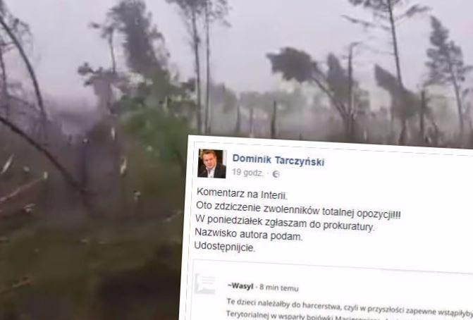 Poseł PiS publikuje skandaliczny komentarz internauty nt. dzieci zmarłych po nawałnicy w Suszku i zapowiada ujawnienie jego tożsamości.