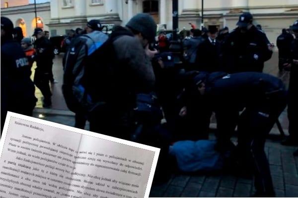 Policjant, który ochrania miesięcznice napisał list. Zwrócił się do obu stron konfliktu z prośbą