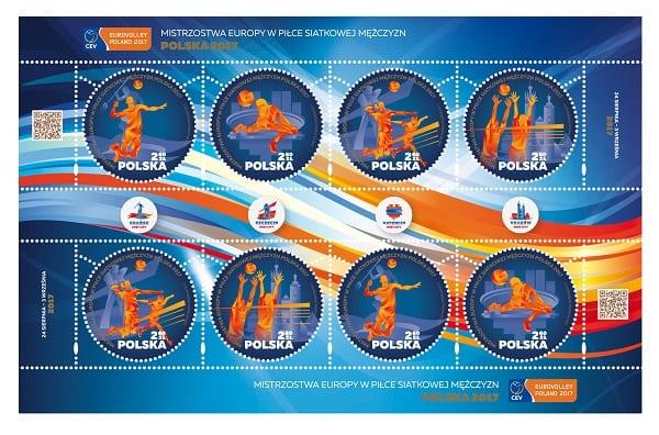 """""""Mistrzostwa Europy w Piłce Siatkowej Mężczyzn Polska 2017"""" na znaczkach Poczty Polskiej"""
