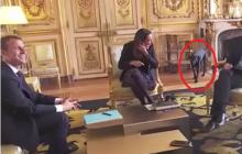 Pies prezydenta zawstydził Macrona i rozbawił jego gości.