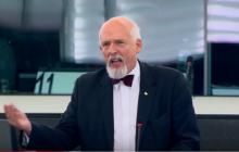 Emocjonalne wystąpienie Janusza Korwin-Mikkego w PE. Stwierdził, że Unia przeszkadza w walce z rządem PiS.