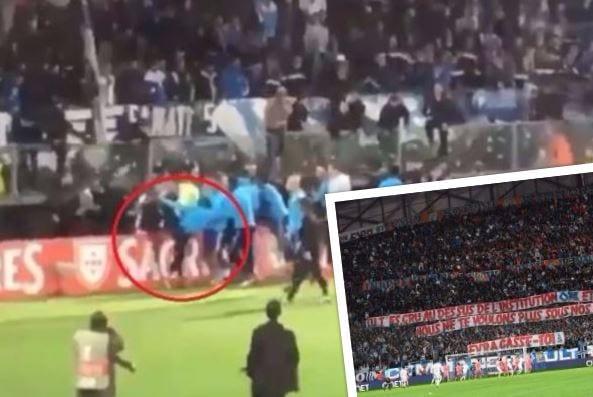 Kibice wywiesili transparent skierowany do piłkarza, który kopnął w głowę jednego z nich.