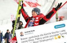 Andrzej Duda pogratulował polskim skoczkom fantastycznego wyniku w Oberstdorfie! Jego wpis momentalnie podbił Twittera