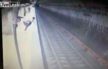 Tragiczna sytuacja uwieczniona na nagraniu. Kobieta wepchnięta pod pociąg nie miała żadnych szans!