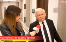 Kaczyński złożył życzenia świąteczne... opozycji. Były bardzo krótkie [WIDEO]