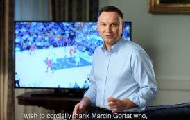 Andrzej Duda dziękuje Marcinowi Gortatowi. Prezydent nagrał specjalny film [WIDEO]