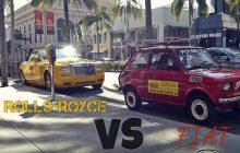 Maluch vs. Rolls-Royce. Polak zaparkował Malucha na najbardziej prestiżowej ulicy Los Angeles. Nagrał reakcje przechodniów [WIDEO]