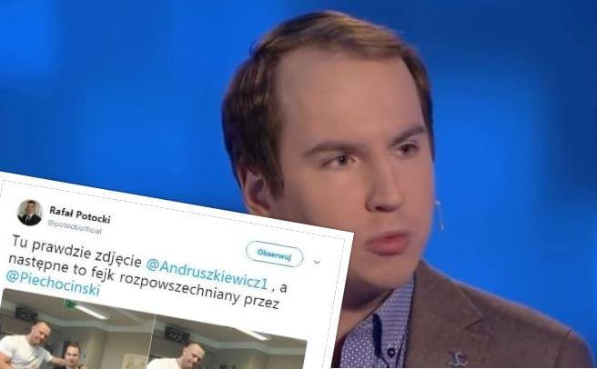 Po sieci krąży fałszywe zdjęcie Adama Andruszkiewicza z mężczyzną w koszulce ze swastyką.