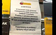 Pająk w bananach z Biedronki? W sklepie pojawiło się takie ostrzeżenie. Market twierdzi, że to głupi żart