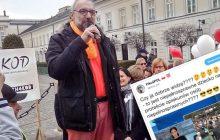 Na proteście niepełnosprawnych i ich opiekunów pojawił się... Mateusz Kijowski!