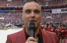 Otwarcie Mistrzostw Świata i... pierwszy skandal. Robbie Williams pokazał do kamery obraźliwy gest! Do kogo go kierował? [WIDEO]