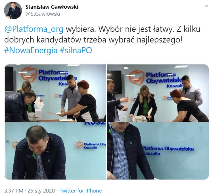 Gawłowski głosuje w wyborach